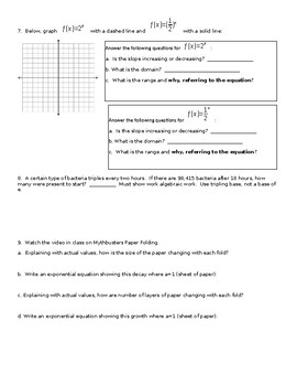 Exponential and Logarithmic Review Activity
