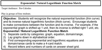 Exponential & Natural Logarithm Graph Match (PreCal)