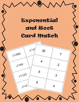 Exponential and Root Flash Cards or Card Sort