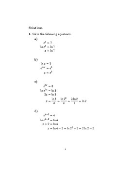 Exponential and logarithmic functions (worksheet with detailed solutions)