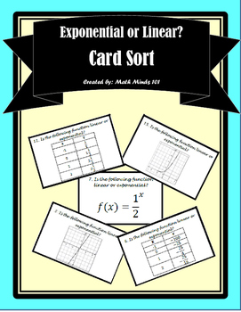 Exponential vs. Linear Functions Card Sort