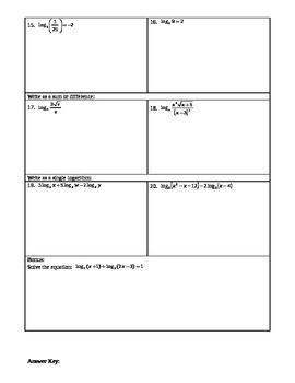 Exponentials & Logarithms Test