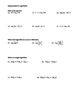 Exponentials & Logarithms Worksheet