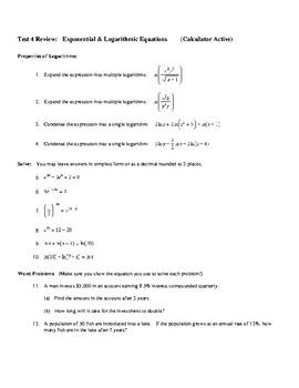 Exponentials & Natural Logs Review