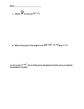 Exponentials and Logarithmics Functions Test (Derivatives and Integrals)