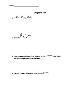 Exponentials and Logarithmics Functions Test (Derivatives