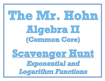 Exponentials and Logarithms Scavenger Hunt