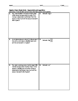 Exponentials and Logarithms Test BUNDLE