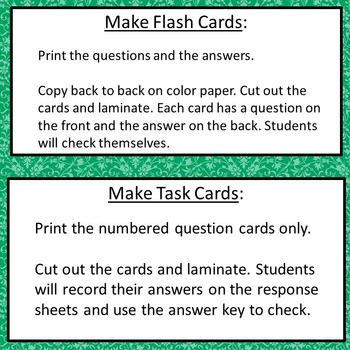 Exponents Flash Cards or Task Cards 6.EE.1