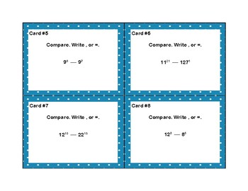 Exponents-24 Math Task Cards for Comparing Exponents-Grades 6-7