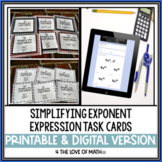 Exponents: 30 Task Cards Simplifying Expressions Using Exponent Rules (Set 1)