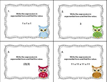 Exponents-40 Task Cards-Writing the Expression and Finding the Value-Grades 6-7