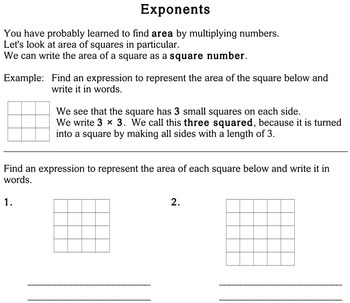 Exponents, 4th grade - Individualized Math - worksheets