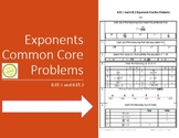 Exponents 8.EE.1 and 8.EE.2 Common Core Practice Problems