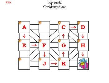 Exponents Activity: Christmas Math Maze