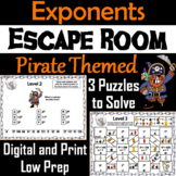 Exponents Activity: Pirate Themed Escape Room Math 5th 6th 7th 8th