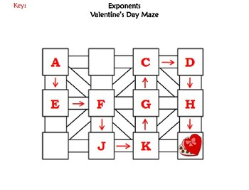 Exponents Activity: Valentine's Day Math Maze