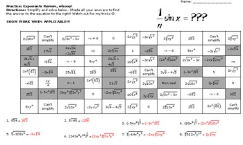 Exponents Activity Worksheets