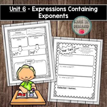 Algebra Interactive Notebook Unit 6 - Expressions Containing Exponents