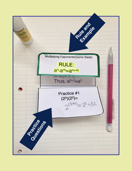 Exponents, Algebra, Pre-Algebra, Multiplying Exponents Foldable Notes