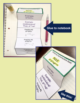 Exponents, Algebra, Pre-Algebra, Multiplying Exponents Foldable Notes