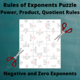 Exponents Puzzle : Power, Product, Quotient Rules: Negative and Zero exponents