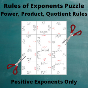 Exponents Puzzle : Power, Product, Quotient : only Positive Exponents