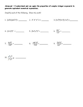 Exponents Assessment - 8.EE.1
