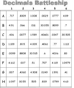 Exponents Battleship PLUS Decimals Battleship (Both Sets)