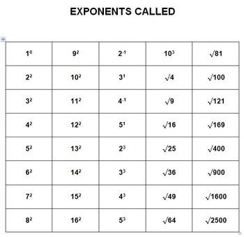 Exponents Bingo