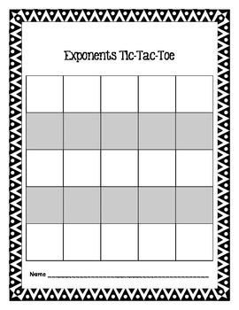 Exponents Bingo and TicTacToe Bundle
