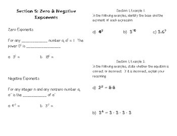 Exponents Booklet (Full Unit)