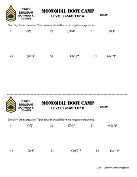 Monomial Boot Camp -- Differentiated Practice Assignments