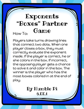 Exponents Boxes Partner Game-6.EE.1