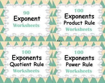 Exponents Worksheets Bundle - Product, Power & Quotient Rule