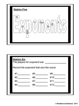 Exponents Bundle: Notebook, Stations and Quiz