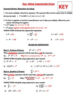 Exponent Rules Bundle - Investigation, Notes, Practices, HW's, Games, Test