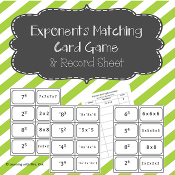 Exponents Card Game and Record Sheet