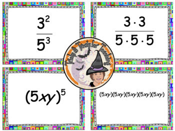 Exponents Card Match Activity Station Center Matching Prime Factorization