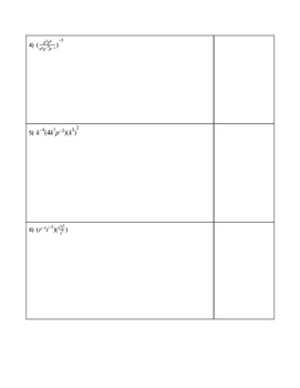 Exponents Challenge Problems Worksheet
