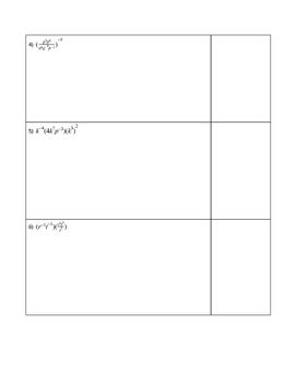 Exponents Challenge Problems Worksheet