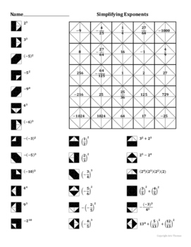 Simplifying Exponents Color Worksheet By Aric Thomas Tpt