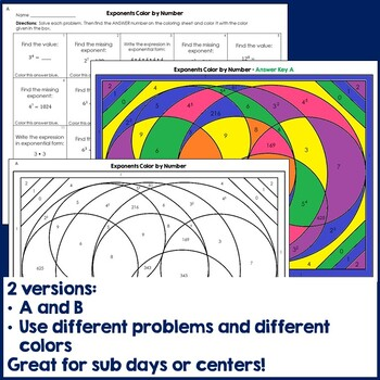 Exponents Math Color by Number