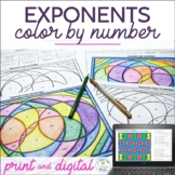Exponents Color by Number Print and Digital