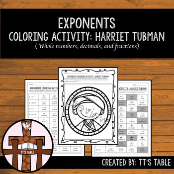 Exponents Coloring Page Harriet Tubman