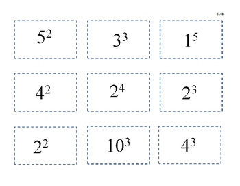 Exponents Cut & Glue Activity