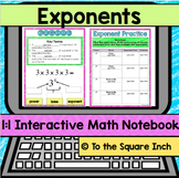 Exponents Digital Interactive Math Notebook