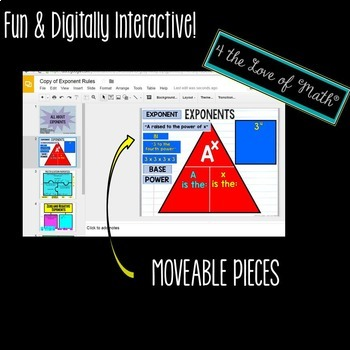 Exponents Digital Interactive Notebook Pages