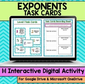 Exponents Digital Task Cards for Distance Learning