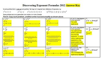 Exponents: Discovering Exponent Formulas 2012 with Answer Key (Editable)